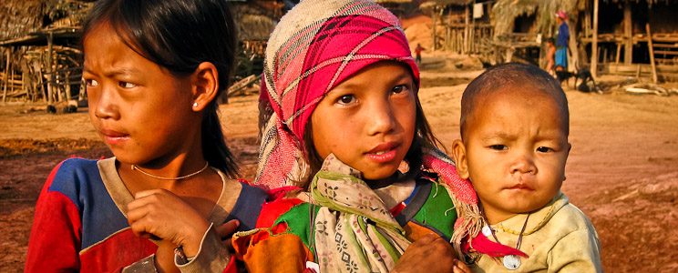 Akha kids, Sing District, Laos